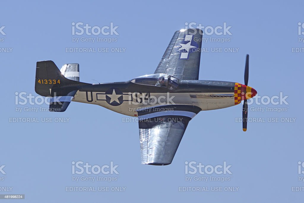 P-51 Mustang WWII Airplane at Air Show stock photo