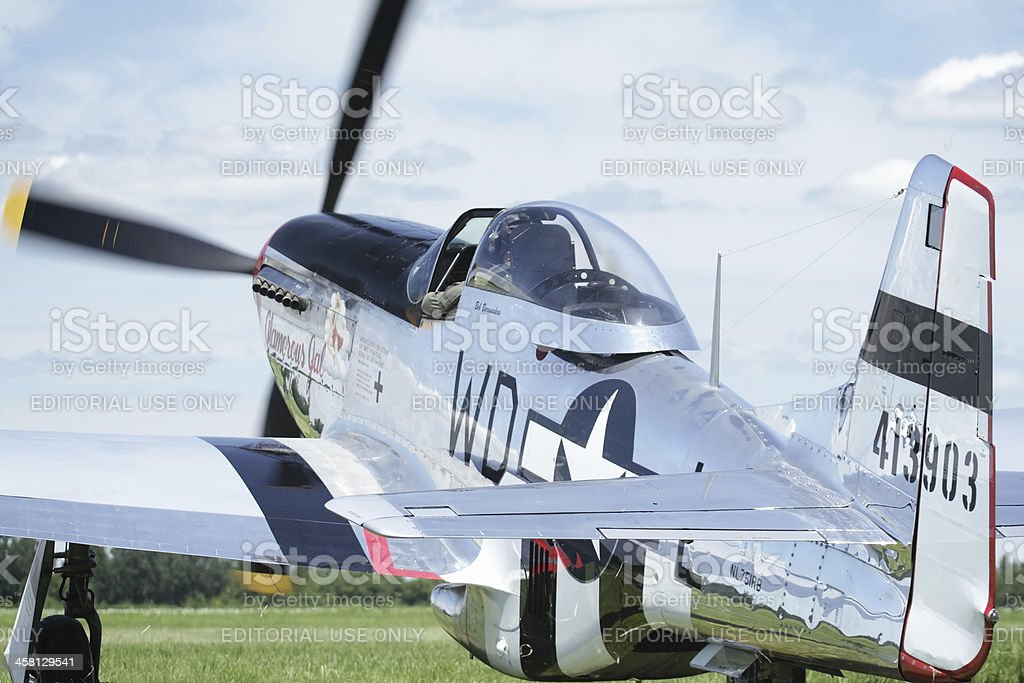 P-51D Mustang WWII Vintage Military Airplane Taxiing at Airshow royalty-free stock photo