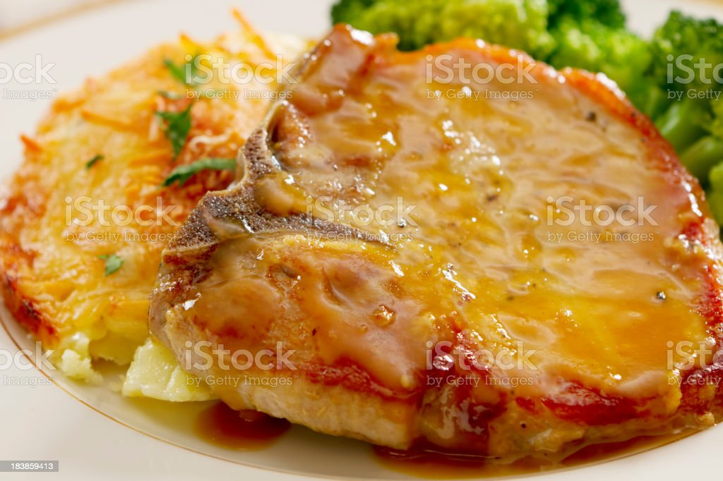Mustard and Honey Glazed Pork Chop stock photo