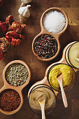 Mustard and spice varieties in bowls