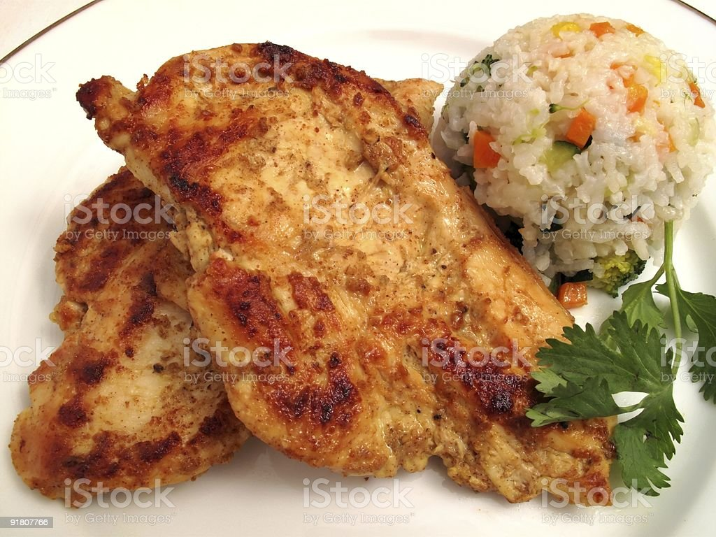 Mustard Chicken and Vegetable Rice royalty-free stock photo