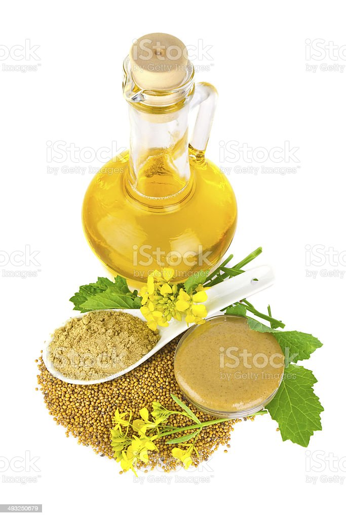 Mustard   in various appearance stock photo