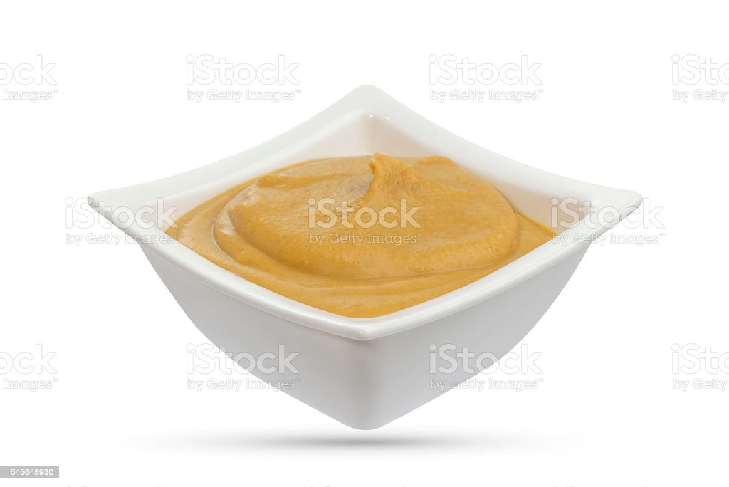 Mustard isolated on white stock photo