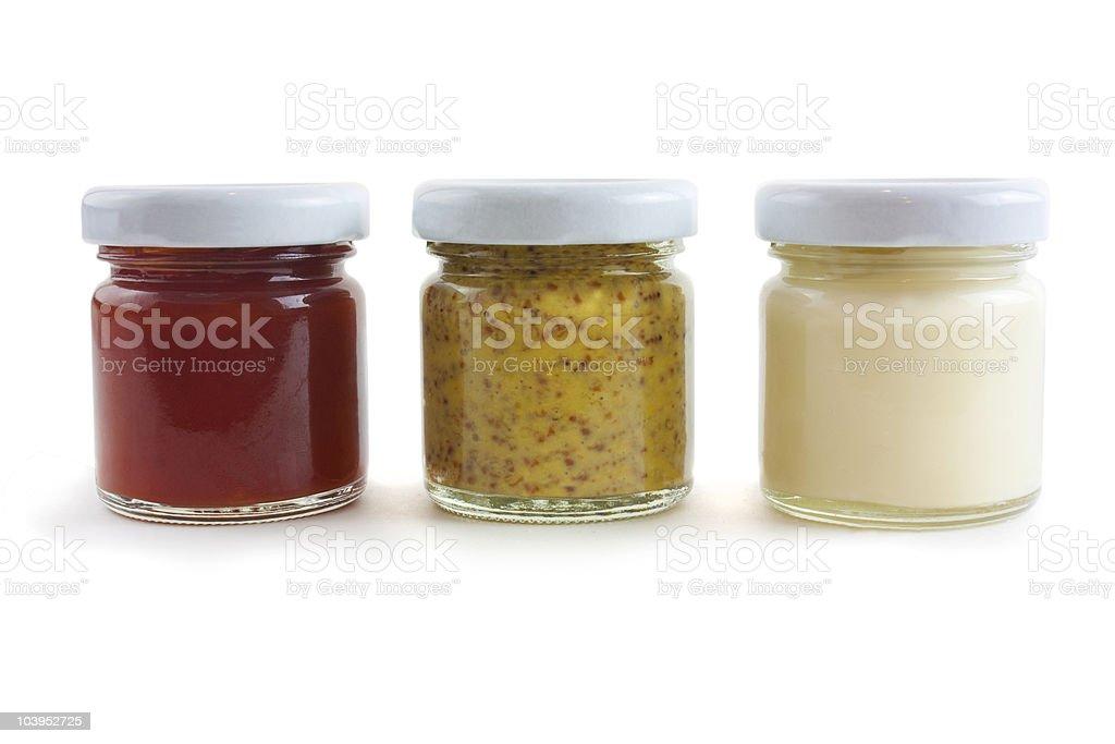 mustard, mayo and sauce stock photo