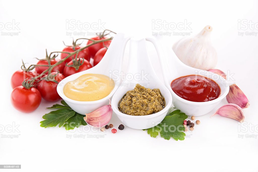 mustard,pesto and ketchup stock photo