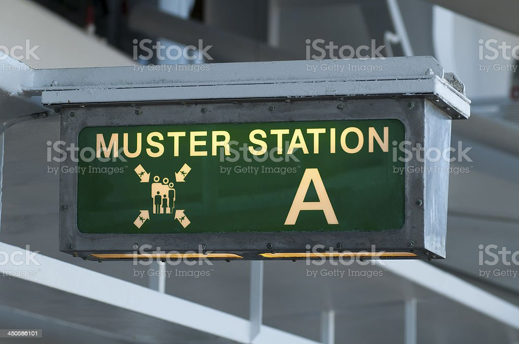 Muster station sign directing passengers to the life boats stock photo