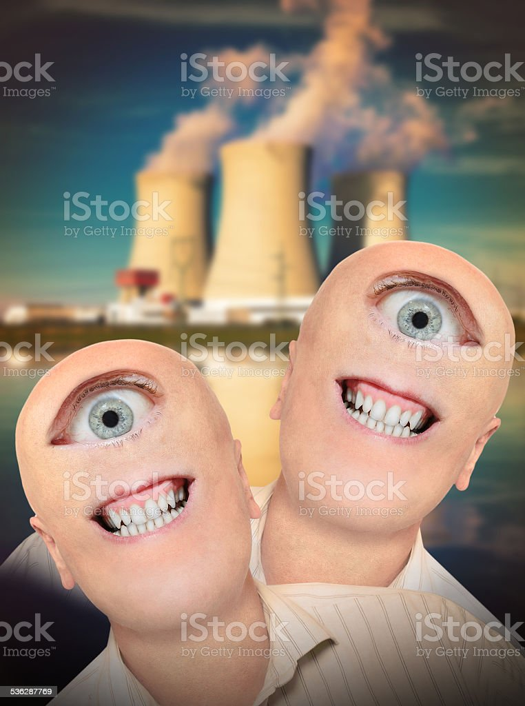 Mutants and power plant. stock photo