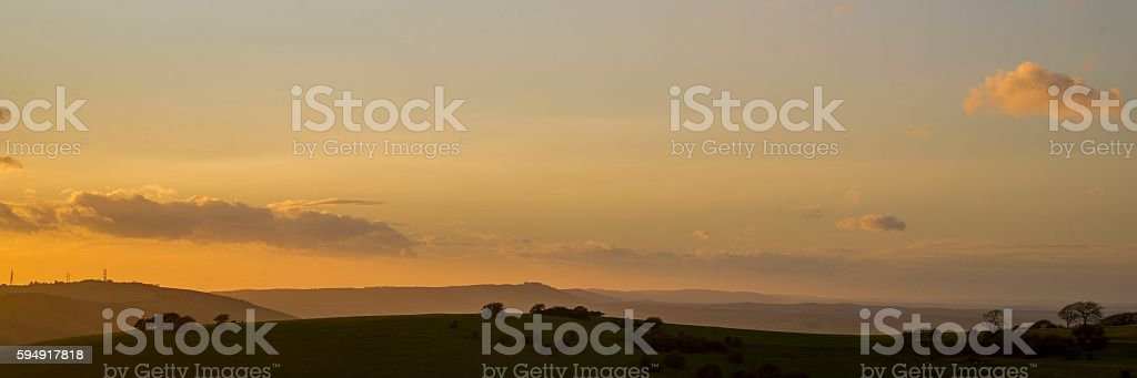 Muted sunset on the South Downs Way stock photo