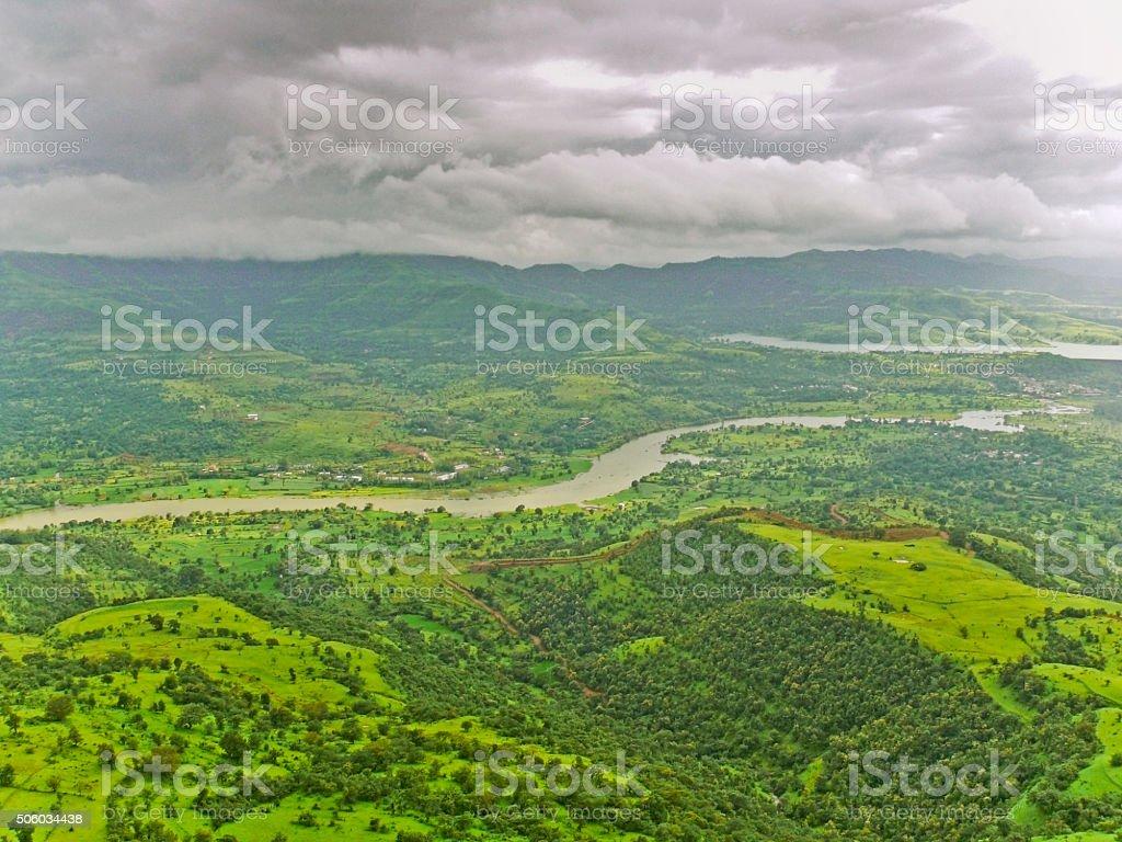 Mutha river near Panshet dam, Pune, Maharashtra, India stock photo