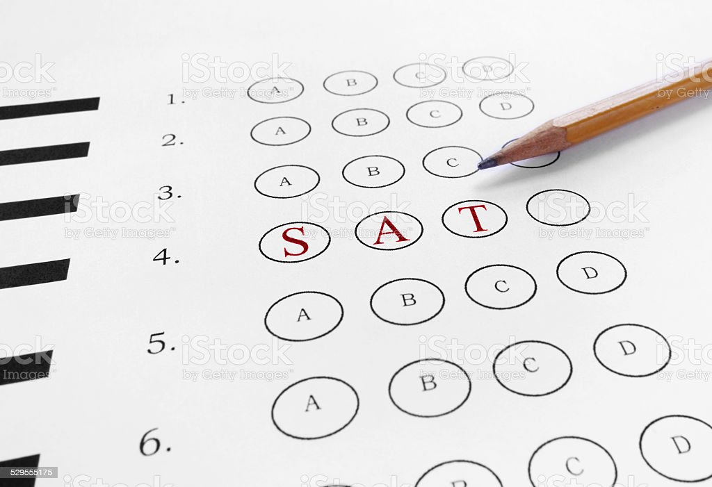 mutiple choice SAT stock photo