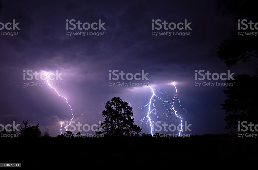 Mutliple Blue Purple Forked Lightning Strikes At Night royalty-free stock photo