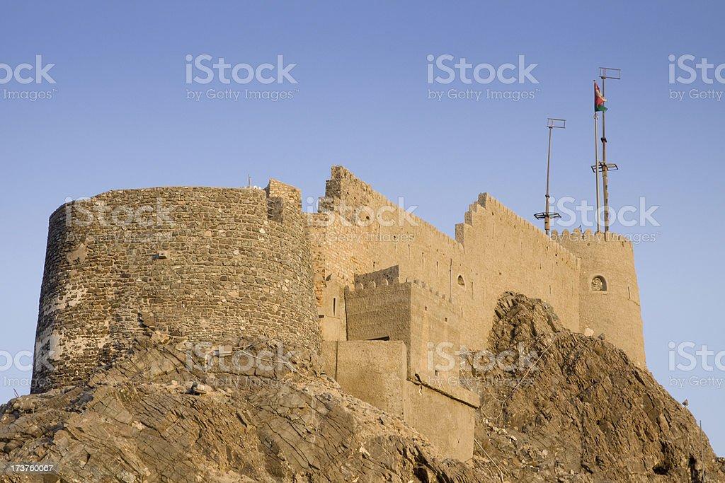 Mutrah Fort overlooking Muscat harbor stock photo