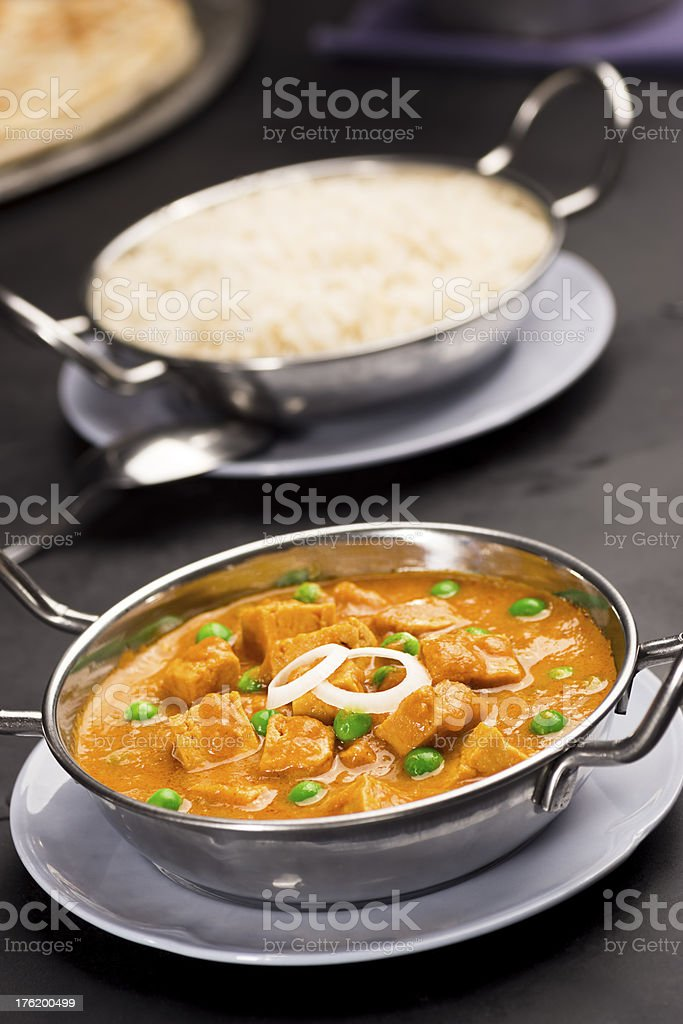 Mutter Paneer in Bowl with Rice stock photo