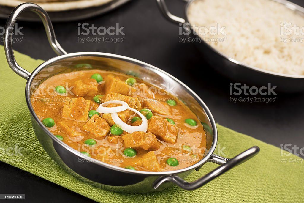 Mutter Paneer with Rice stock photo