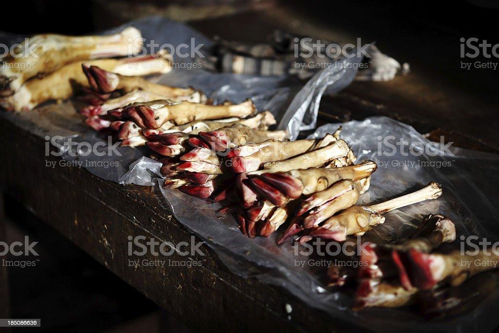 Mutton Trotters in Asian Bazaar, Empress Market, Karachi stock photo