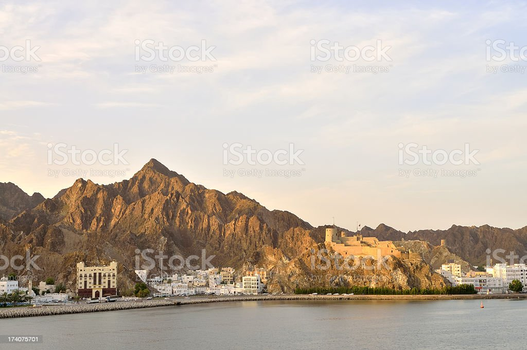 Muttrah Cornice Rush Hour At Dawn stock photo
