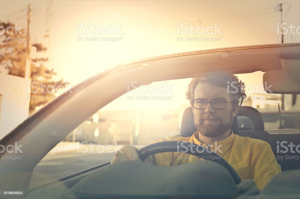 Mutual love between men and cars stock photo