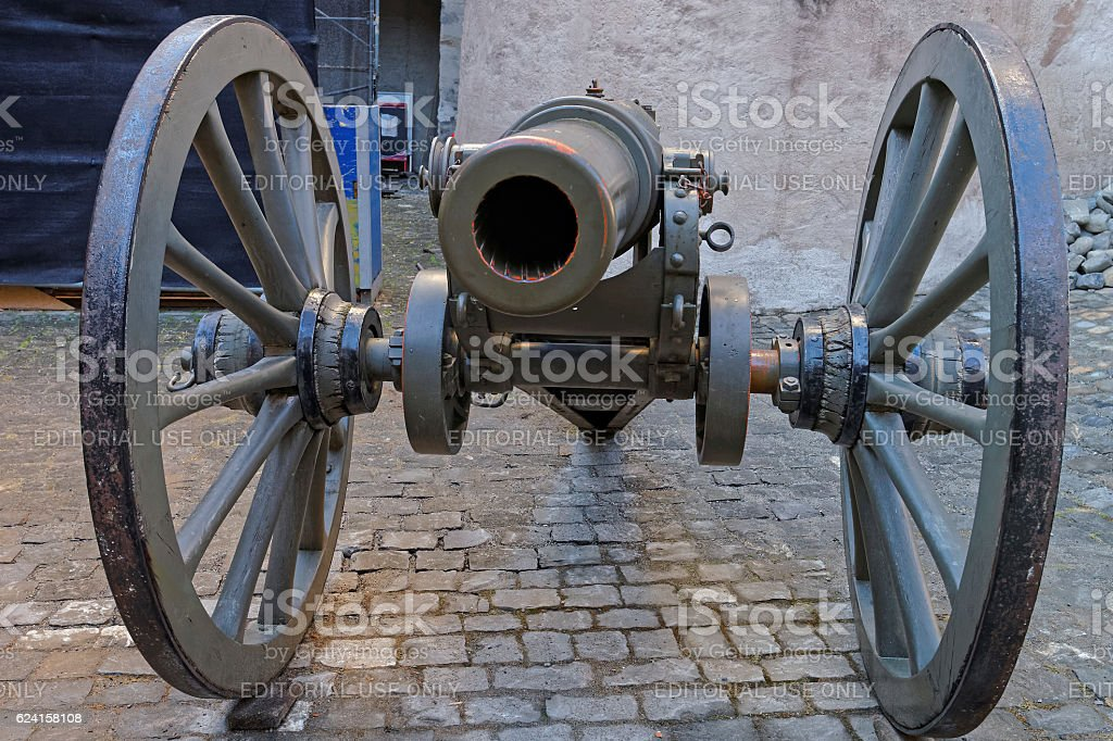 Muzzle of Cannon in the street in Thun, Switzerland stock photo