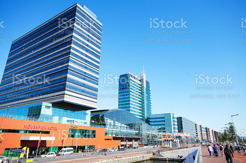 Mövenpick hotel, ferry terminal and office buildings stock photo