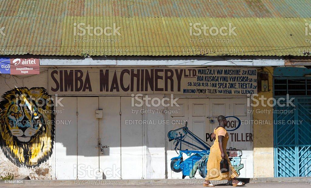Mwanza, Tanzania: Woman Walking Near Lion Painting stock photo
