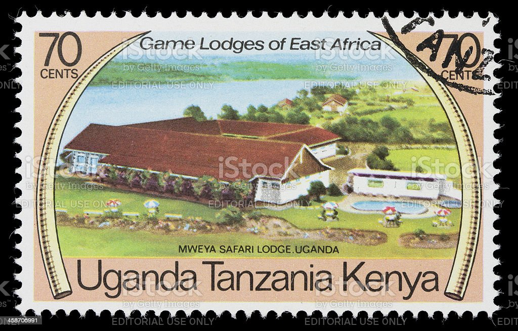 Mweya Safari Lodge postage stamp stock photo