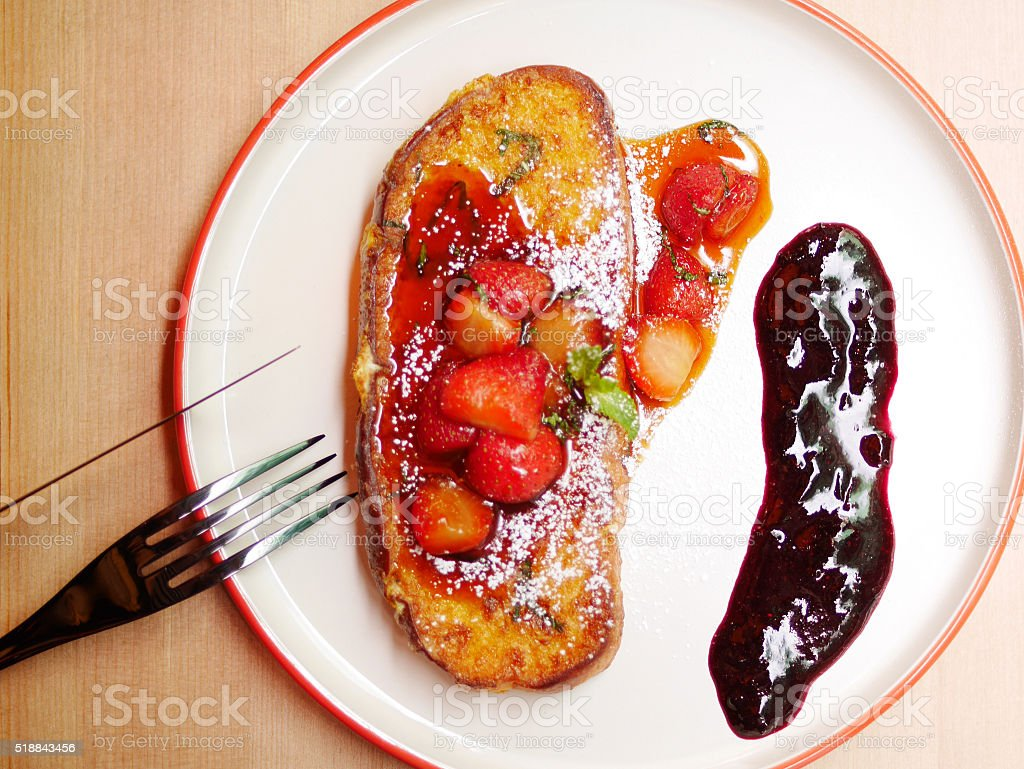 mxied berry french toast stock photo