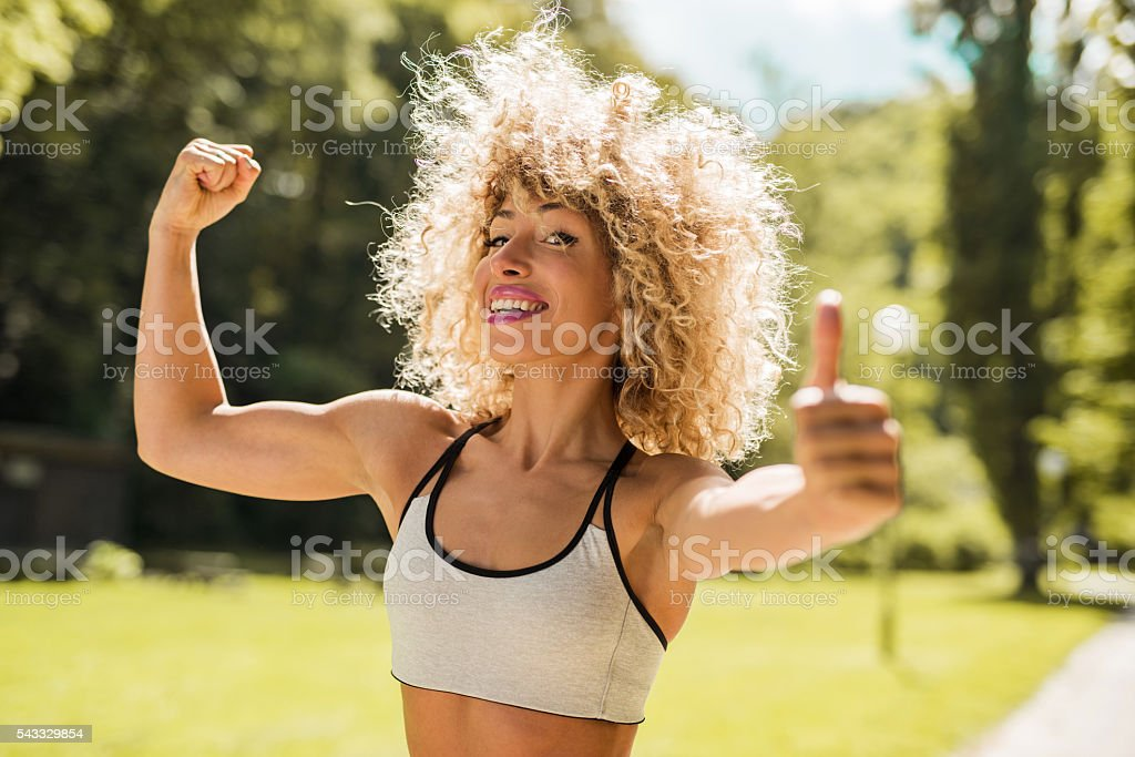 My biceps is looking pretty good! stock photo