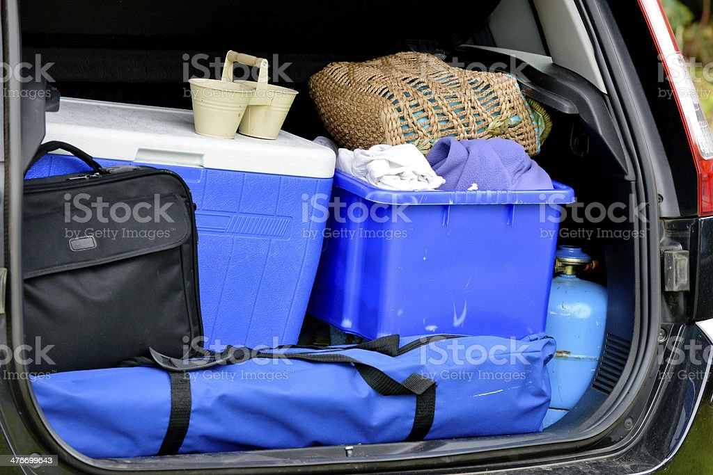 My boot is packed, I am ready to go. stock photo