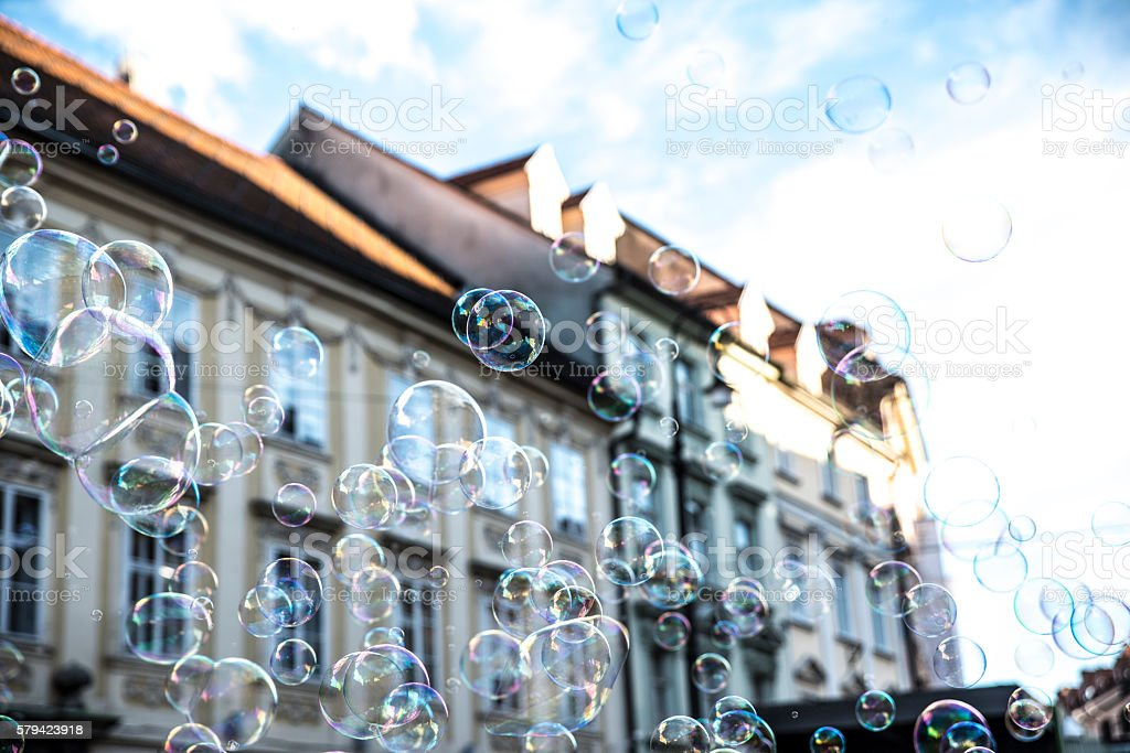 My city in bubbles stock photo