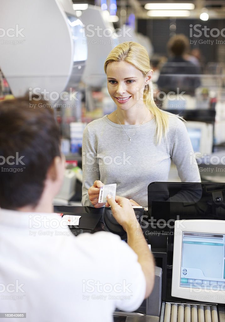 My credit card makes payments so much easier royalty-free stock photo