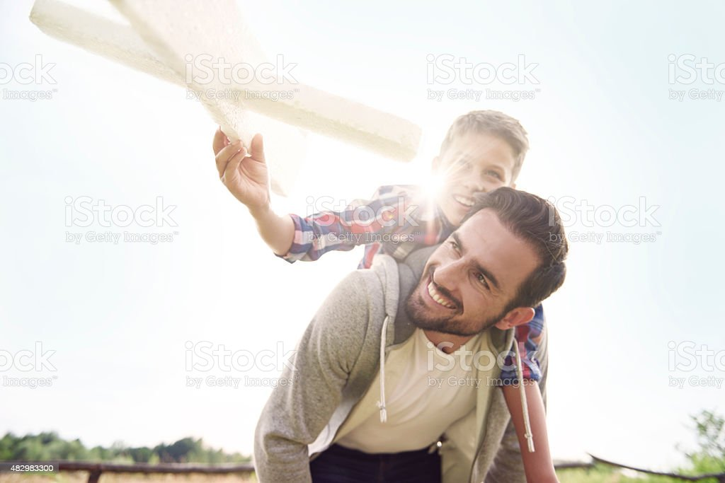 My daddy is the best companion for playing stock photo