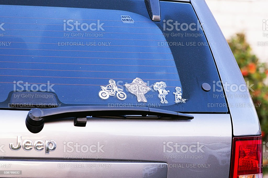 My Family decals on back window of Jeep SUV stock photo