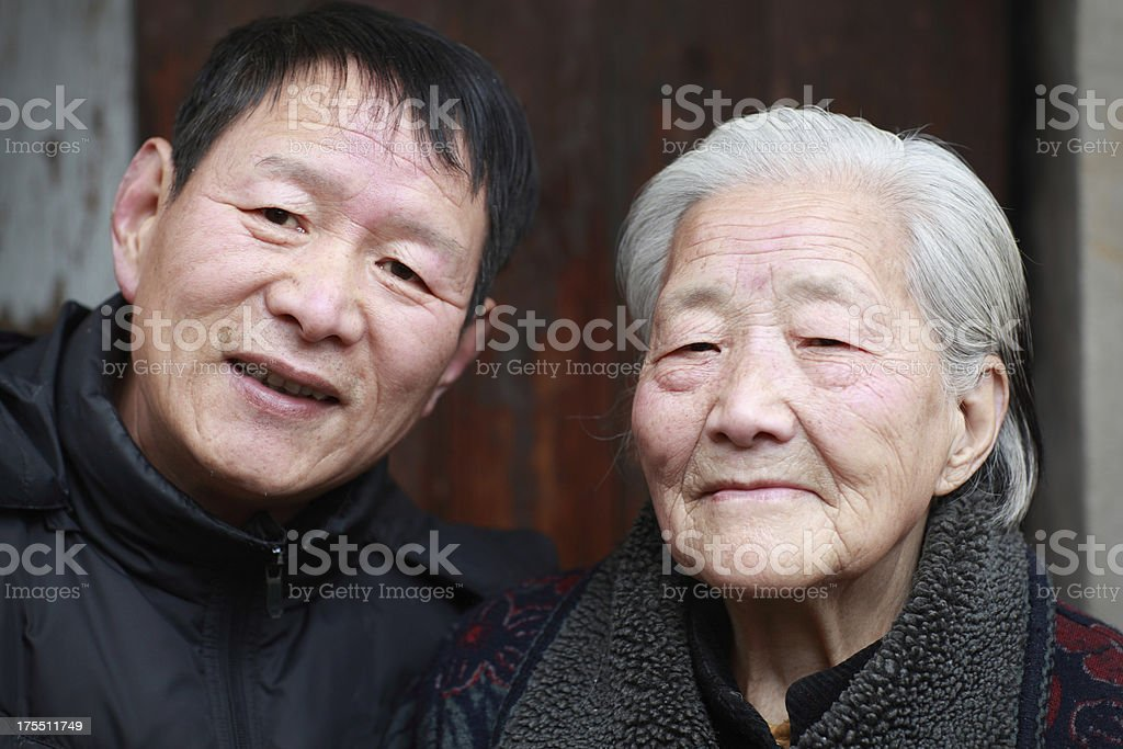 My father and grandma royalty-free stock photo