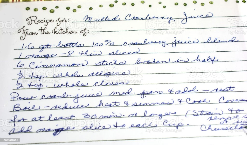 My favorite recipes, vintage and hand written  cranberry juice stock photo
