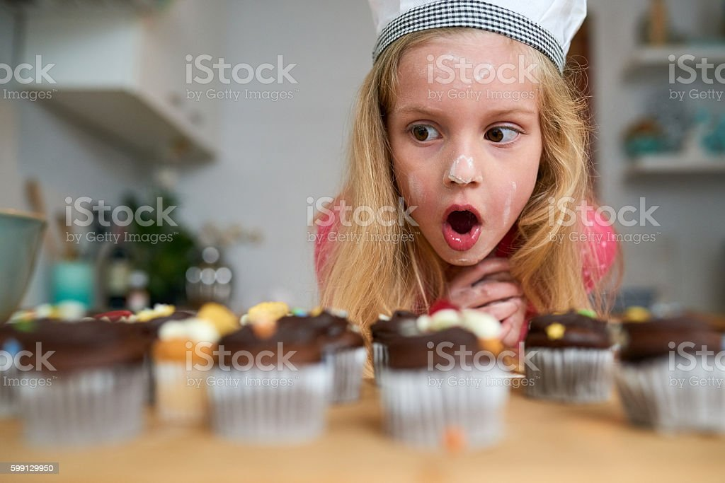 My first batch of cupcakes! stock photo