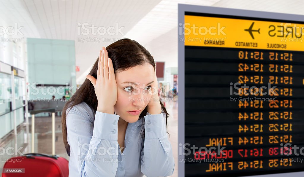 my flight is cancelled stock photo