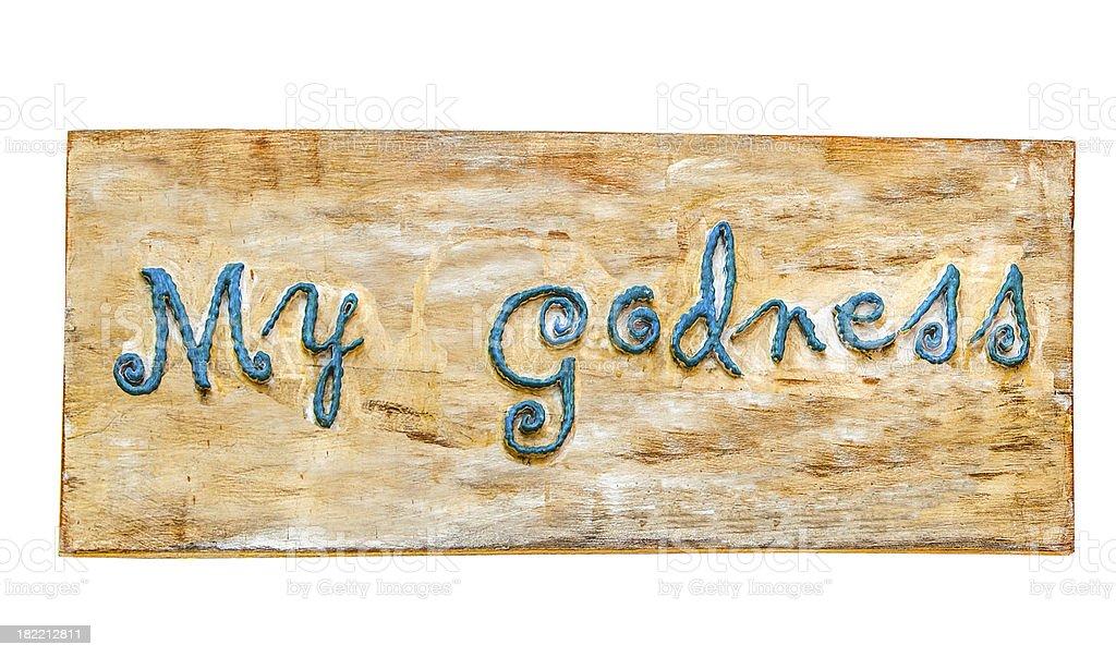 My godness on wood isolated white background royalty-free stock photo