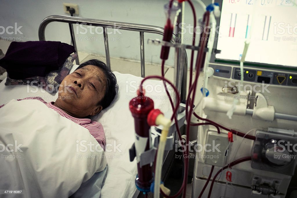 My grandmother is dialysis royalty-free stock photo