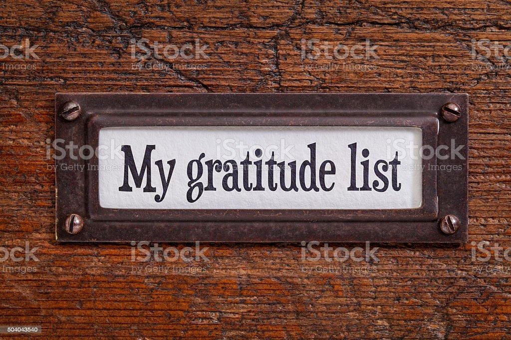 My gratitude list - file cabinet label stock photo