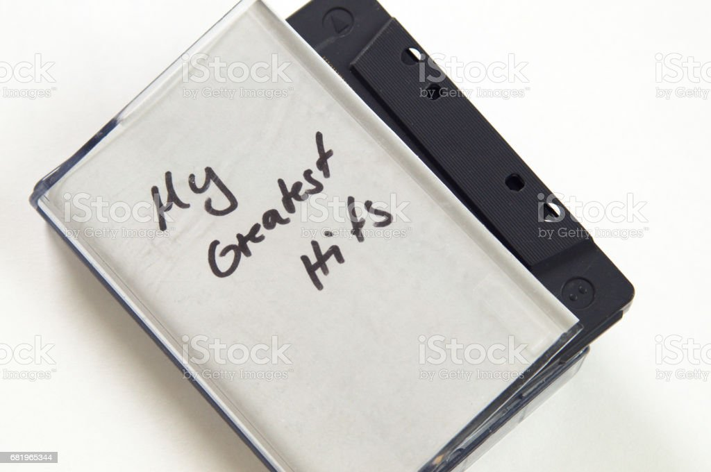 My greatest Hits in handwriting written on music cassette tape case stock photo