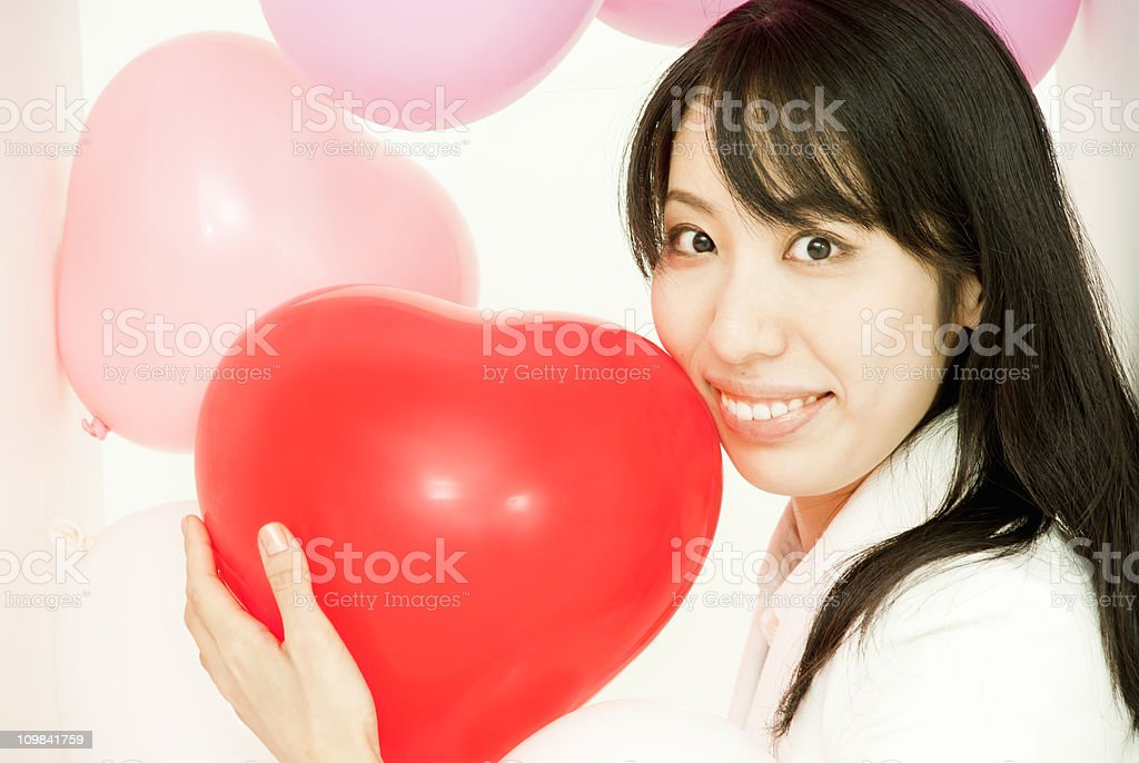 My heart - Asian woman stock photo