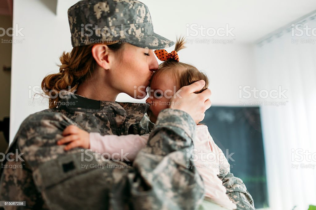 My Hero is back home. stock photo