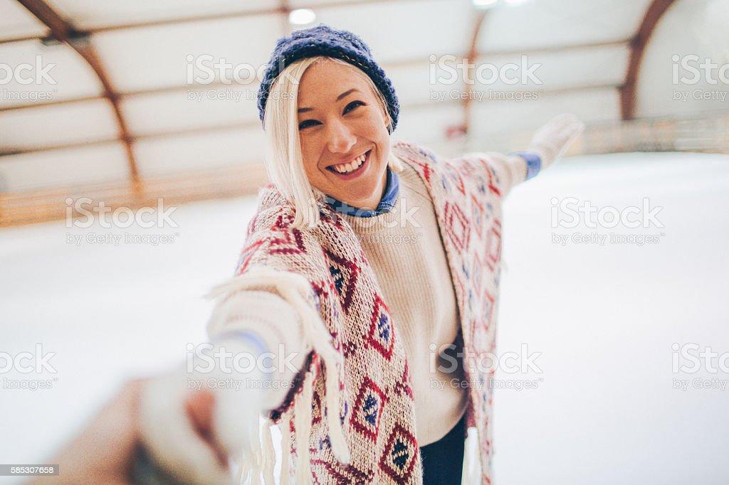 My ice-skating partner stock photo