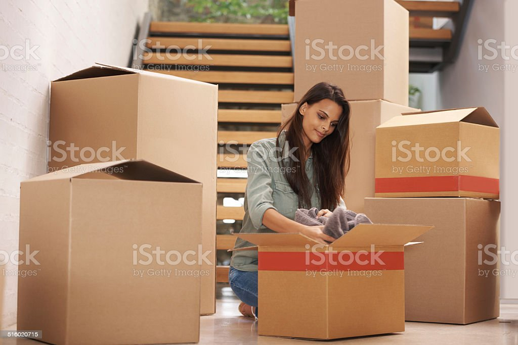 My life in boxes stock photo