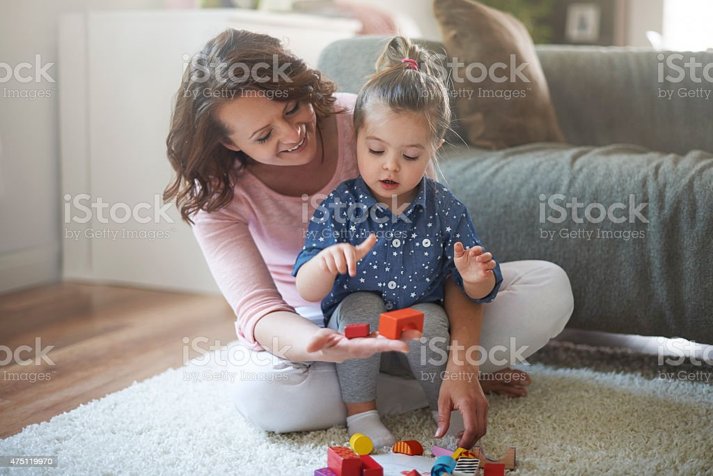 My little daughter is very capable stock photo