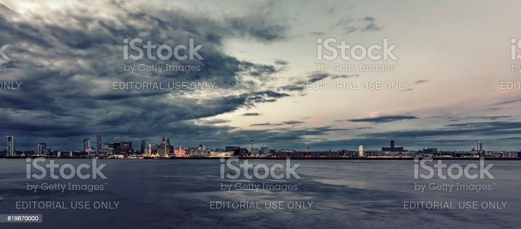 My Liverpool  home:  Liverpool water front as seen from Birkenhead on the Wirral stock photo