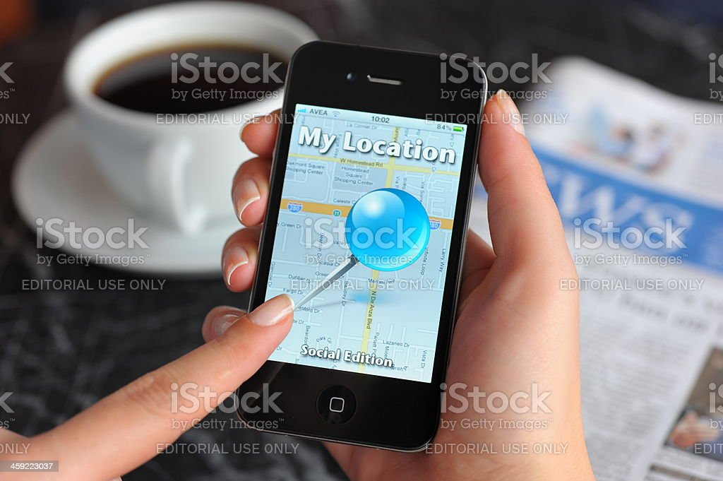 My Location application on iPhone 4 royalty-free stock photo