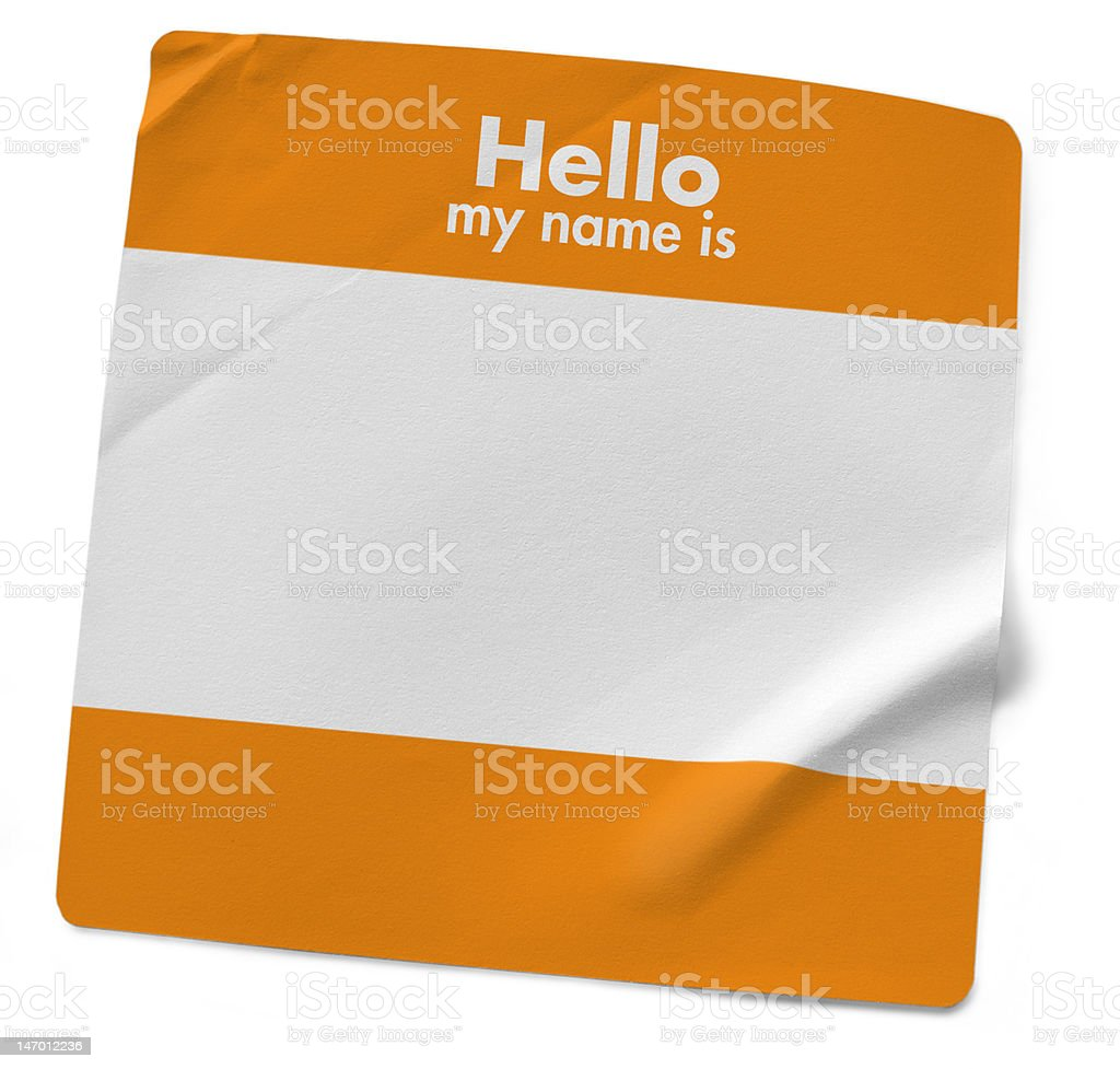 My Name Is... Orange stock photo