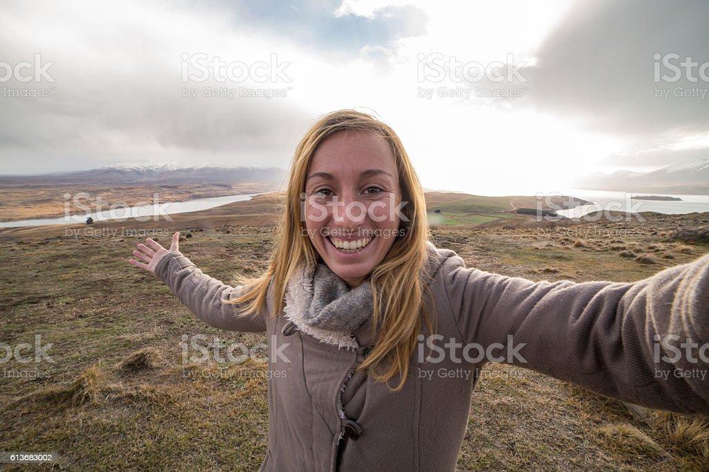 My New Zealand winter selfie stock photo