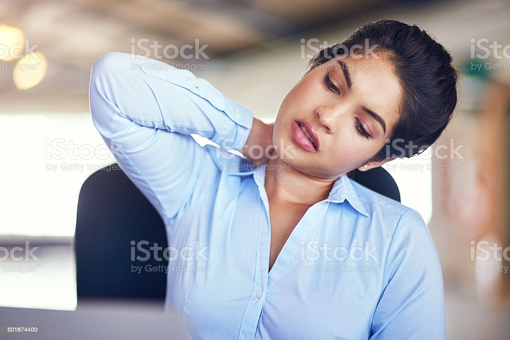 My poor neck muscles... stock photo
